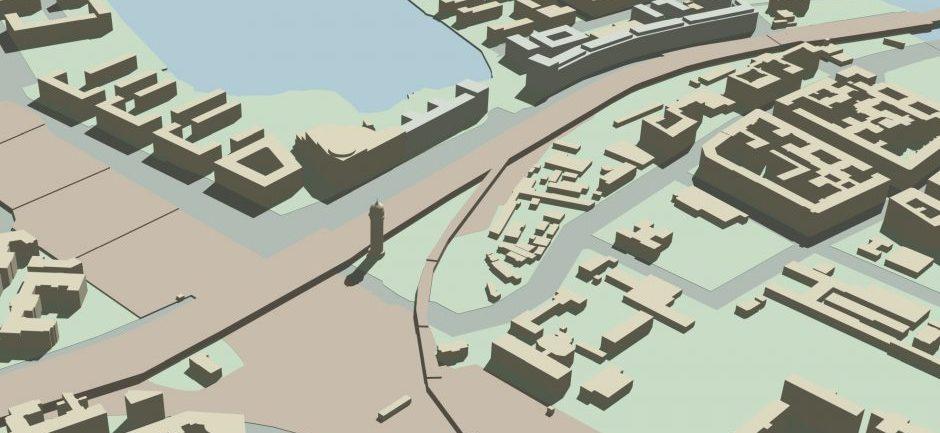 Baumassenstudie Ostkreuz - 3D-Visualisierung, Ansicht von Nordwest