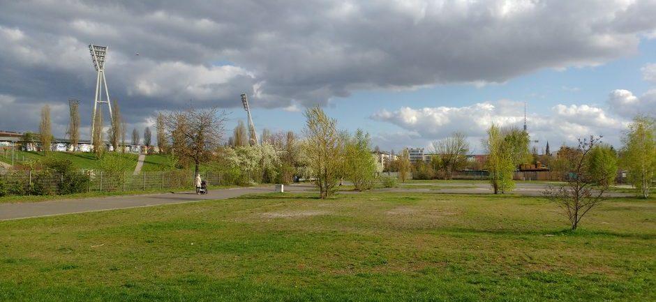 Ansicht der bereits bestehenden Teilfläche des Mauerparks